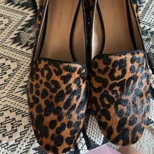 Leopard loafer block heels
